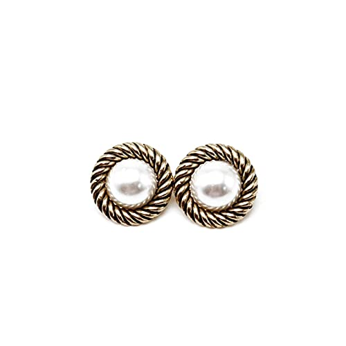 LOKILOKI Orecchini Vintage Rotondi Moderni Bohe Vintage Motivo A Vite Perle Accessori Clip su Orecchini Senza Piercing