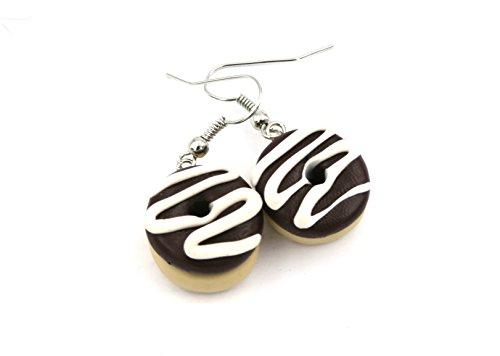 Schoko Donut Ohrringe Ohrschmuck weiss Swirl