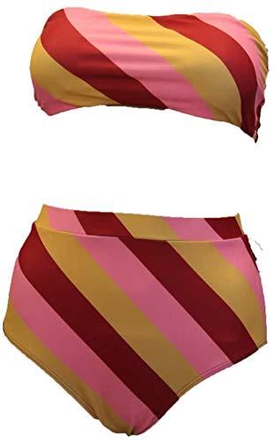Women's Split Swimsuit Sexy High Waist Backless Tube Top Bikini Set, Maat: XL (Size : XL)