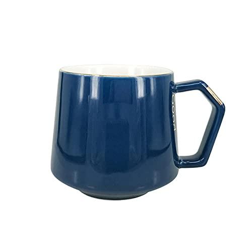 XXJJZON Taza de café de cerámica Resistente y Duradera: Taza Simple innovadora Taza de cerámica Azul Personalizada Visita Taza de Buenos días Hecha a mano-301-400ml