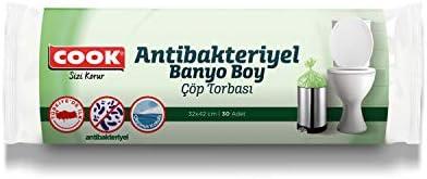 Cook Antibakteriyel Banyo Boy Çöp Torbası Okyanus Kokulu