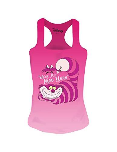 Alice in Wonderland Disney Camiseta de Tirantes de Mujer Cheshire Cat Cotton Pink - L
