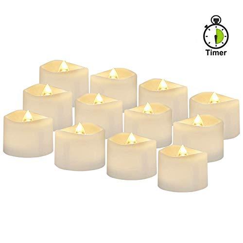 12 Stück LED Kerzen mit timer, Automatikmodus: 6 Stunden an und 18 Stunden aus, LED Elektrische Teelichter, 3.6 x 3.6 cm, Warmweiß