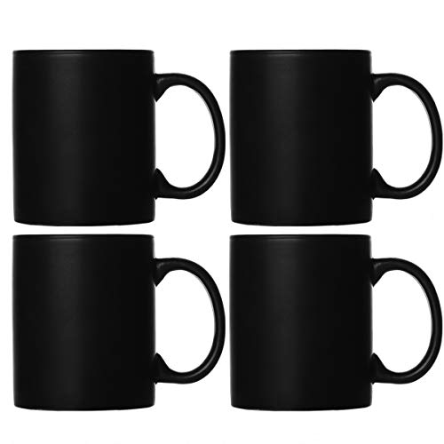 Smilatte M010 Kaffeetassen aus mattschwarzem Porzellan, 320 ml klassische Keramikschale mit Hanlde für Latte Cappuccino-Tee, 4er-Set