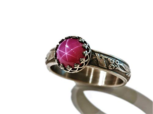8mm Created Pink Star Ruby 925 Sterling Silver Ring Blooming Flower Band Vintage Antique Finish