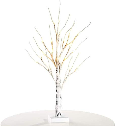 White Easter Tree with Lights Mini Birch Twig Tree Ornament with 24 Warm LEDs Battery Operated Tabletop Decoration for Easter Christmas Home Party Wedding (Birch Tree)