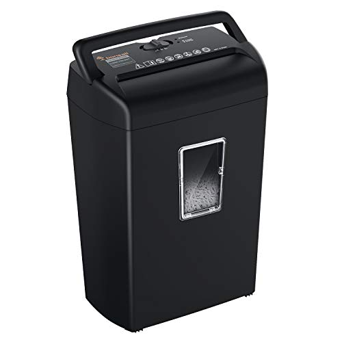Bonsaii 10-Sheet Cross-Cut Paper Shredder, Credit Card Shredders for Home Office Use, 5.5 Gallons Large Wastebasket with Transparent Window, Black (C209-D)