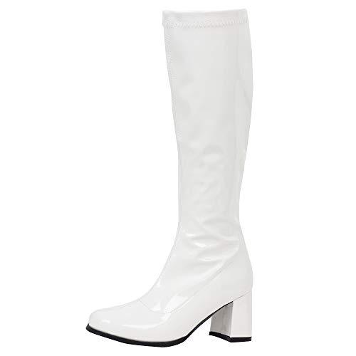 Gogo Stiefel für Frauen, kniehohe Stiefel, PU Leder Reißverschluss Damen Party Tanzschuhe, Weiá (Weiß / glänzend), 46 EU