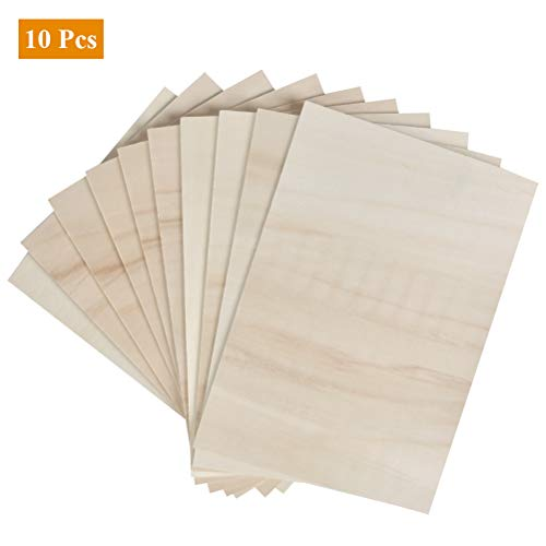 QLOUNI 10 x A4 Balsaholz, Holz-Platte, 30x20cm Sperrholzplatte, Dünne Sperrholz-Zuschnitte, Balsabretter für DIY, Haus, Laserschnitt