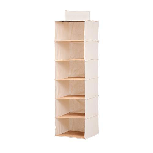 Honey-Can-Do SFT-01003 Organizzatore Verticale per Armadio a 6 Ripiani, Altro, Bambù Naturale E Tela, 3.81x33x36.83 cm