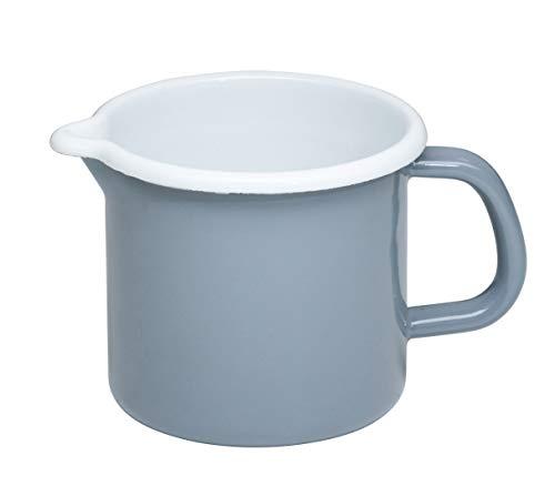 Riess, 0040-065, Schnabeltopf 12 1,0 L, Classic - Pure Grey, Durchmessser 12 cm, Höhe 11,5 cm, Inhalt 1,0 Liter, Emaille, helles Grau, Milchtopf, 0,428kg, 18,7 x 13,5 x 11,5cm