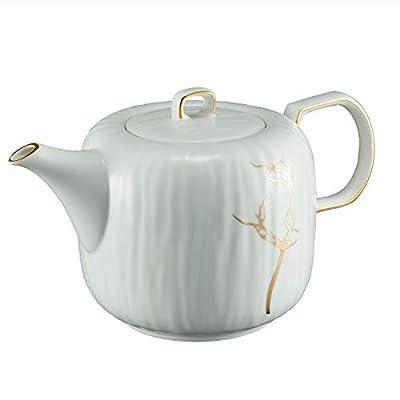 ROIMTEA Ceramic Porcelain Teapot for Loose Leaf Tea & Blooming Tea, Tea Kettle Brewer, Microwave Safe, 1100mL/37oz, White