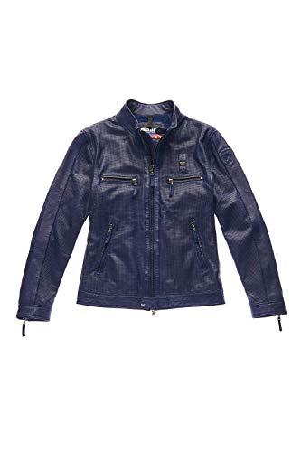 Blauer 20SBLUL02154-868 Leather Biker Jacket - Chaqueta de piel de napa de becerro 100% azul zafiro