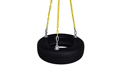 "SAFARI SWINGS Fun Outdoor Rubber Tire Swing For Kids & Adults (Includes 3 Eye Bolts, three 6' Long Plastic Coated Chains & a 3"" Quick Link) Child and Adult Tire Swing Set Accessories For The Porch, Tr"