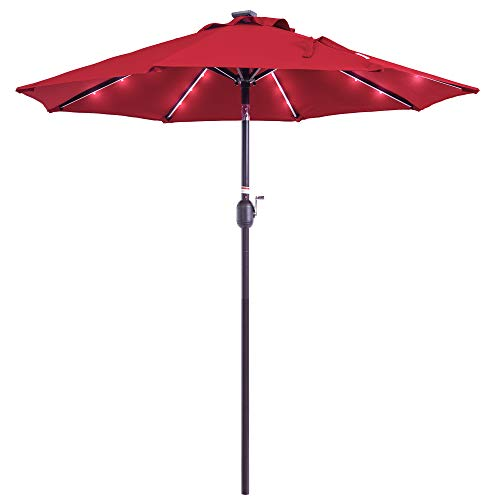 Sundale Outdoor 7 ft Solar Powered 24 LED Lighted Patio Umbrella Table Market Umbrella with Crank & Push Button Tilt for Garden, Deck, Backyard, Pool, 8 Steel Ribs, Polyester Canopy (Red)