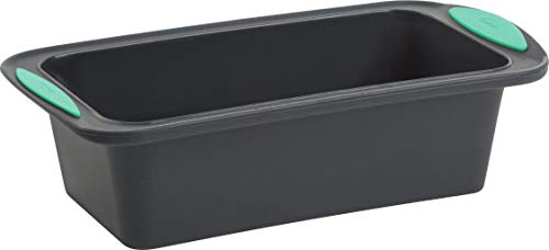 Trudeau Structure Loaf Pan Silicone Bakeware, 8.5″ x 4.5″, Mint/Black
