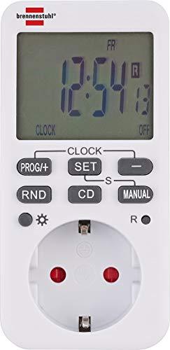 Brennenstuhl Comfort-Line Digitale Wochenzeitschaltuhr, digitale Timer-Steckdose (Wochen-Zeitschaltuhr für Innenbereich, Countdown-Funktion und mit erhöhtem Berührungsschutz) weiß