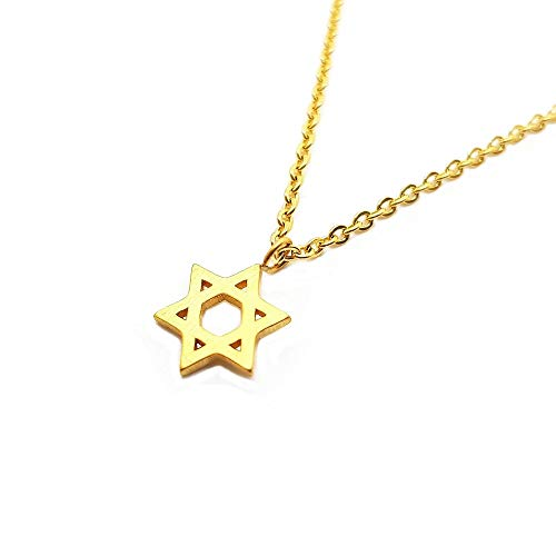 BOBIJOO JEWELRY - Kleine Anhänger, Stern von David, Frau Kind-Mädchen-9mm Gold Silber Pink + Kette - Gold Edelstahl