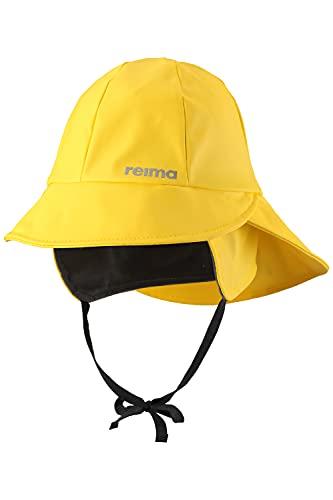 Reima Kinder Regenhut Rainy Yellow – Regenhut für Kinder aus flexiblem Material – wasserdichte Kinder Regenmütze mit reflektierenden Details und Wassersäule Mind. 8000mm – Größe 50
