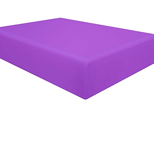 NTBAY Microfiber Twin Fitted Sheet, Wrinkle, Fade, Stain Resistant Deep Pocket Bed Sheet, Purple