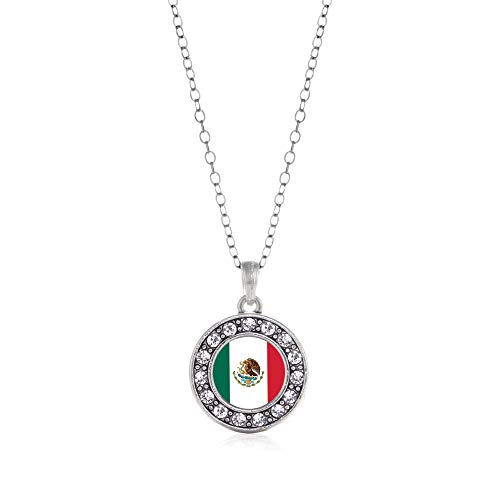 Inspired Silver - Mexican Flag Charm Necklace for Women - Silver Circle Charm 18 Inch Necklace with Cubic Zirconia Jewelry