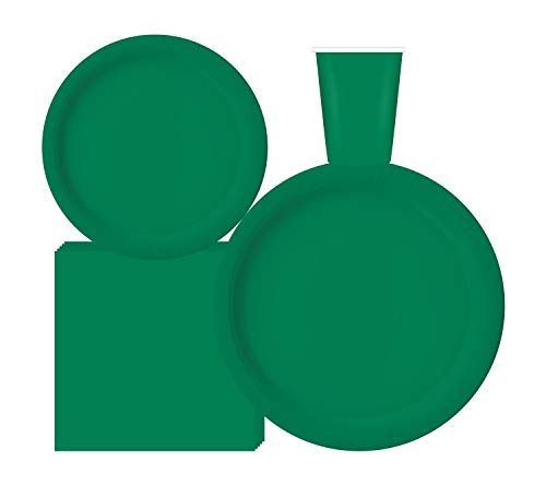 """Serves 50   Complete Party Pack   Green   9"""" Dinner Paper Plates   7"""" Dessert Paper Plates   9 oz Cups   3 Ply Napkins   office parties, birthday parties, festivals, Green Party Theme"""