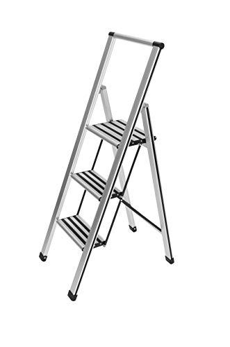 WENKO Alu-Design Klapptrittleiter 3-stufig Silber - rutschfeste Haushaltsleiter, Sicherheits-Stehleiter, Aluminium, 44 x 127 x 5.5 cm, Silber matt