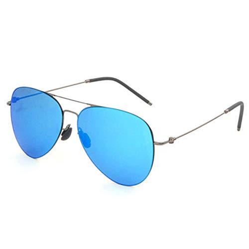 HAOQI Sin Montura Ligeras Gafas De Sol, Metal Conducir Viajes Gafas,Hombre Aviador Correr Gafas,Moda Vintage Protección UV-Azul 13.4x5.8cm(5x2inch)
