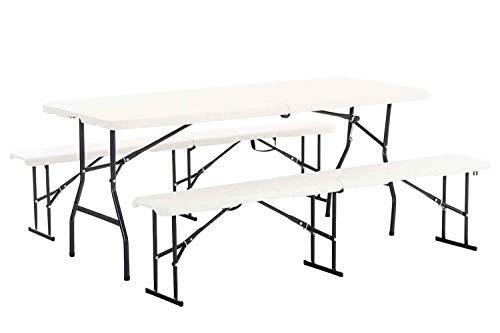 CLP Set Birreria Fair Richiudibile Tavolo + 2 Panche – Set Tavolo e Panchine da Campeggio 4X Posti I Tavolo Set Panche da Giardino Base in Metallo I Set Trasportabile con Manici Bianco