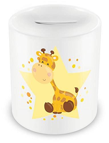 Samunshi® Kinder Spardose mit dem Motiv Giraffe Tier - Jungen und Mädchen Sparschwein Sparbüchse weiß
