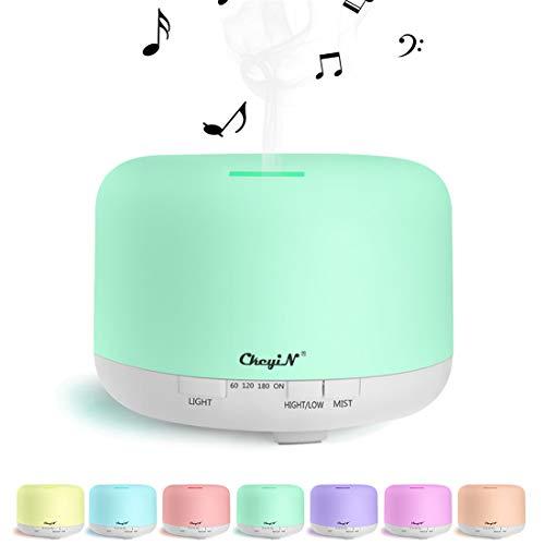 800 ml Duftspender für ätherische Öle / Luftbefeuchter, Musik-Player, Bluetooth/Aroma-Diffuser, mehr als 10 Stunden Arbeitszeit, langlebig, für Spa/Yoga/Büro etc. (kompatibel mit Apple und Android)