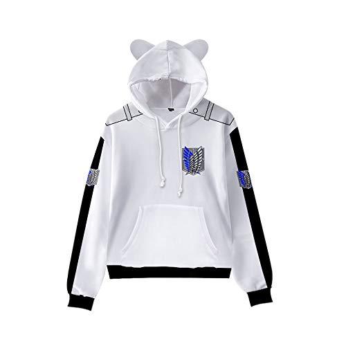 WAWNI Attack on Titan Girls 2020 Cool Cat Ear Hoodie Sweatshirt Fashion Cool Pullovers (style1,150CM)