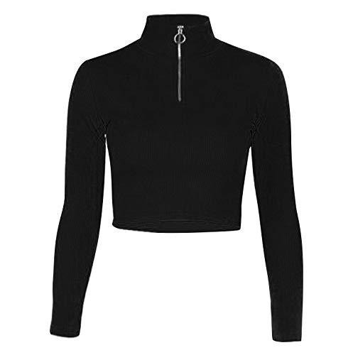 IEFIEL Camiseta Manga Larga para Mujer Crop Top Cuello Alto Camisa de Danza Hip Hop Sudaderas Ajustado Jersey Suave Tops Negro L