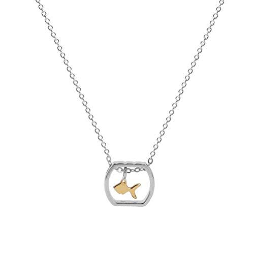 WOZUIMEI Collar de Plata S925 Estilo Coreano Femenino Simple Pecera Cuadrada Hueca Pequeño Collar de Peces Cadena de Clavícula Marina LindaA, Plata 925