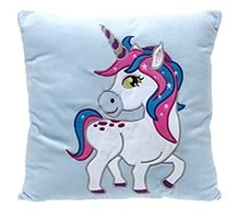 "Unicorn 14 ""bordado Velboa cojín cuadrado - AZUL - Gigi Queen Adventures in Unicorn Land"