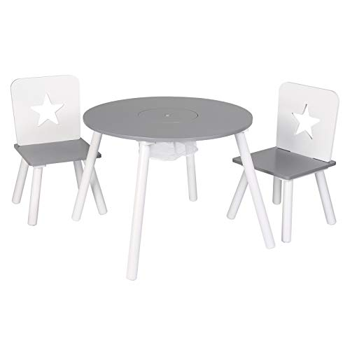 WOLTU SG012 Kindersitzgruppe 1 Kindertisch und 2 Kinderstühle, Kindertisch mit Stauraum, aus Kiefer Massiv Holz, Rund Tisch Möbel Set für Kinder, (Grau+Weiß)