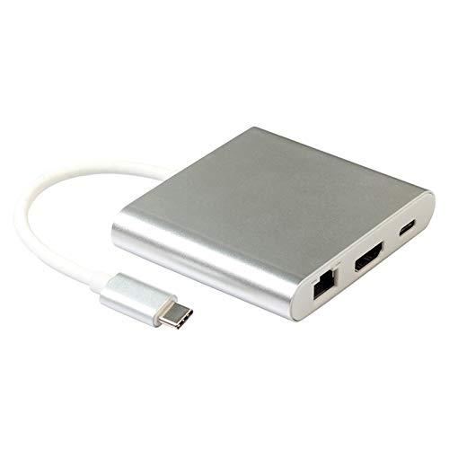 Adapter - For Type C To Hdmi 4K + Rj45 Port + Usb 3.0 Usb 3.1 Converter 4 In 1 Usb-C Hub Adapter Usb 3.1 For Hdtv Chromebook - White