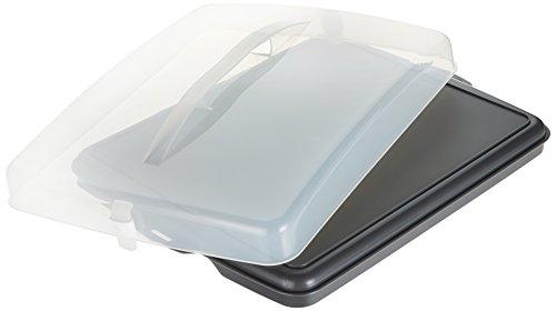 Xavax Blechkuchen-Transportbox (rechteckig, Transparente Haube mit Tragegriff, zur Aufbewahrung von Kuchen, Häppchen, etc., spülmaschinengeeignet, Kuchenbox, Partybutler anthrazit)