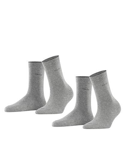 ESPRIT Damen Basic Easy 2-Pack W SO Socken, Blickdicht, Grau (Light Grey Melange 3390), 35-38 (2er Pack)