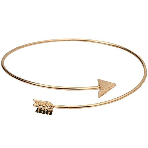 DAY.LIN Armband Damen Armbänder Einfache Mode Frauen Metall Punk Manschette Pfeil Armreif Schmuck (Gold)