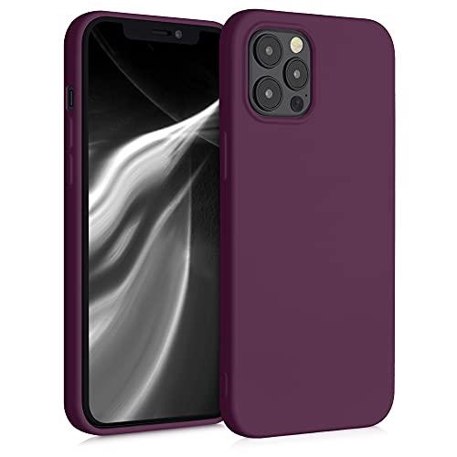 kwmobile Slim Hülle kompatibel mit Apple iPhone 12 Pro Max - Hülle Silikon Handy - gummiert - Handyhülle Bordeaux Violett