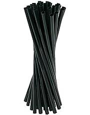 Virsus 250 rietjes van papier, 20/7, biologisch afbreekbaar, kleur zwart, rietjes voor cocktails, koude en warme dranken, eco-vriendelijk