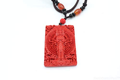 Chinese Cinnabar Carved Thousand Hands Mercy Kwan Yin   Guan Yin Buddha Pendant Necklace Lucky Feng Shui Protection Hanging Ornament