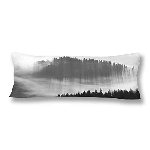 CiCiDi Body Pillow Case 5ft(50cm X 150cm) Autumn Fall Fog Mountain Black and White Soft Cotton Machine Washable with Zippers Maternity/Pregnancy Pillow Cover