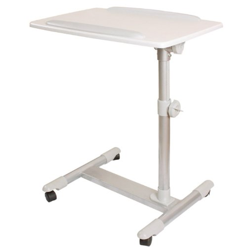 SoBuy® Mesa Auxiliar con Ruedas, mesas de Centro, mesas para portatiles, mesitas de Noche, FBT07N2-W(Blanco/ L60*P40*A56-87cm),ES