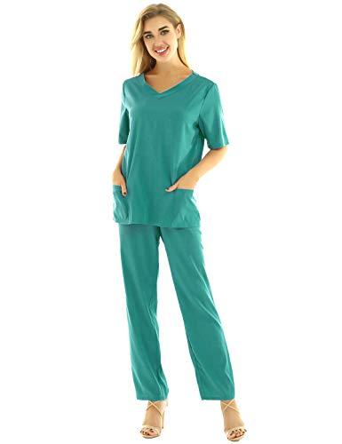 Agoky Unisex Arzt Chirurg Kostüm Kurzarm Hemd Top und OP Hose Arbeitshose Elastische Bundhose Medizin Türkis XXXL