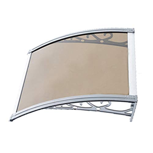 Canopy Door Window Awning Silent Rain Self-cleaning PC Polycarbonate Sheet 3 Colors And 6 Sizes For Door And Window Patio Cover Shelter (Color : Brown, Size : 80X100cm)