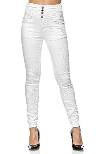 Elara Damen Jeans High Waist Push Up Skinny Fit Chunkyrayan 1949-1 White-44 (2XL)