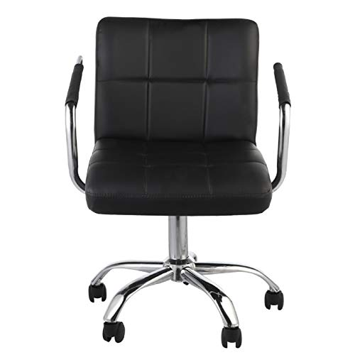 Trintion desk stool Task Chair Adjustable Leather Swivel Desk Chairs 84-98cm Armchair Chair Ergonomic Office Computer Chair Weight Capacity 120kg for Study Home (Black)