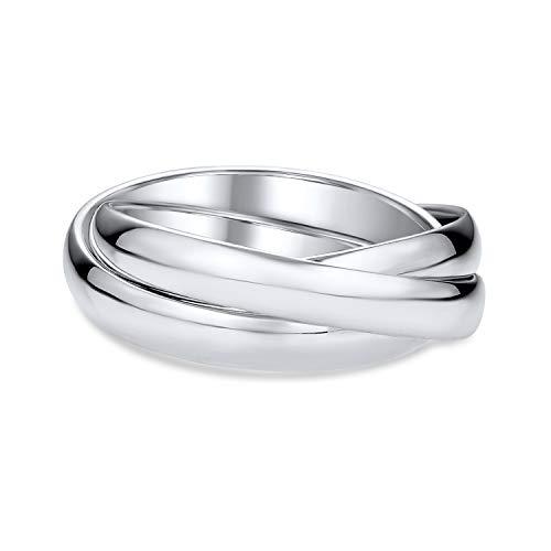Simple 925 cúpula de plata esterlina Rolling parejas rusas anillo de la banda de boda para las mujeres para los hombres